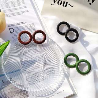 氣質復古個性圓圈耳環木製耳環