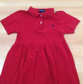 Authentic Ralph Lauren Girls Red Dress Size 5