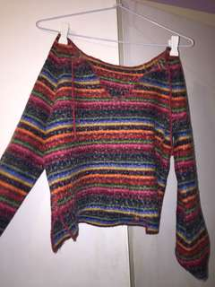 Cropped knitted colourful jumper