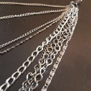 silver multichain necklace