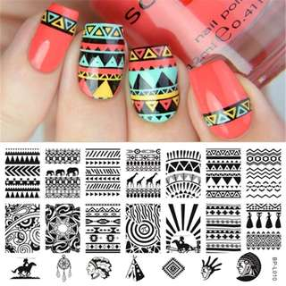 BORN PRETTY Nail Stamping Plate Pyramid Flower Number Cartoon Round Rectangle Nail Art Stamp Template Nail Art Printing Transfer