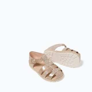 Zara baby gold glitter strappy sandals