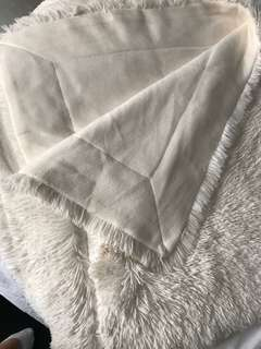 Offwhite shaggy faux fur mink throw/blanket
