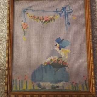 Vintage spring art needlepoint with vintage wood frame