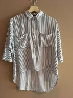 Minkpink white shirt with navy stripes