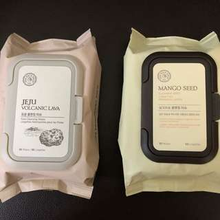 The Face Shop Cleansing Wipes (Jeju Volcanic Lava and Mango Seed)
