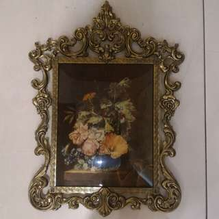 Vintage Ornate Brass Glass Picture Frame