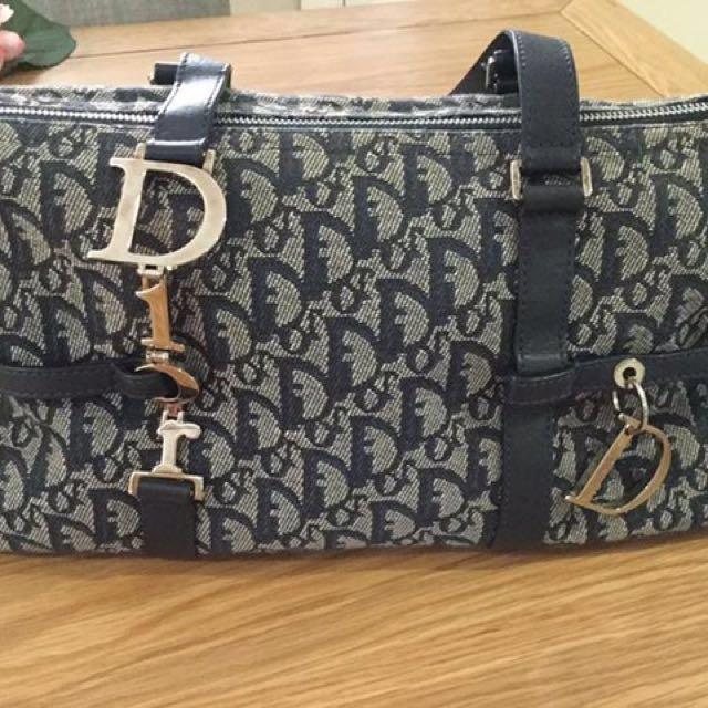 100% Authentic Christian Dior Linen Logo Bag