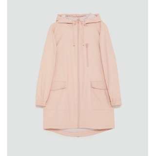ZARA Water resistant hooded parka with drawstring
