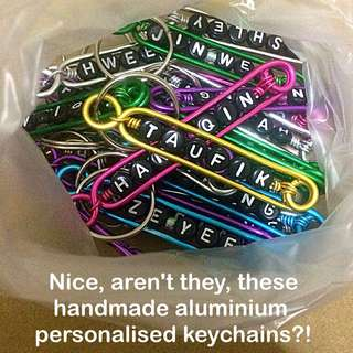 Aluminium Personalised Keychains / Dangles (Wirecraft fob) [customised gifts presents Children's Day Teacher's Valentine Raya Christmas  handmade uncle.anthony uncle anthony uac ]  FOR MORE PICTURES & DETAILS, GO HERE: 👉Http://carousell.com/p/101405144