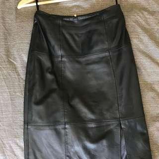Gorman Black Leather Pencil Skirt