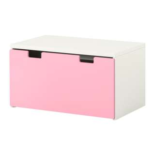 STUVA Storage bench, white, pink <2 years old