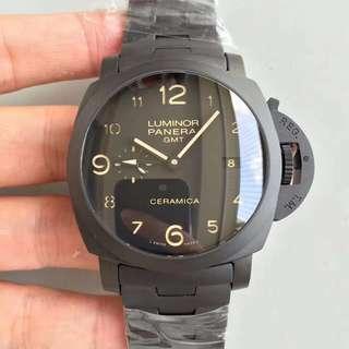 環亞  Panerai PAM438 全黑陶瓷錶 44mm Gmt 兩地時區 VS工廠新品 面交