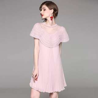 Pink Pleated Lace patchwork sequined Dress cocktail evening party mini gown