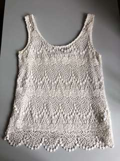 New Look White Vest 白色通花背心 size 6