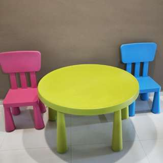 IKEA Mammut kids round table and two chairs