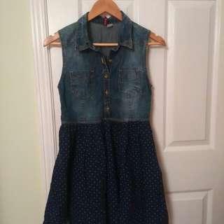 Cute denim polka dot dress