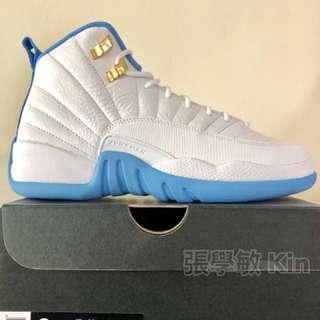Jordan 12 北卡藍 粉藍 6Y(24cm)