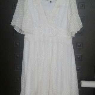 米白色花樣洋裝(7成新)
