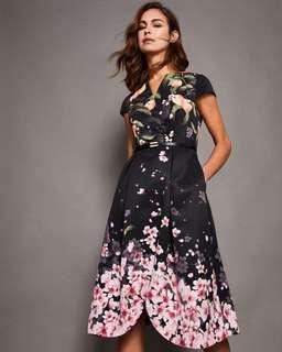 Ted Baker FREDICA Peach Sakura Blossom wrap midi dress