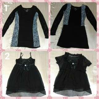 🚚 🆕2件$150 全新-黑色蕾絲摟空洋裝 連身裙 斑馬紋 小鑽洋裝 小外套
