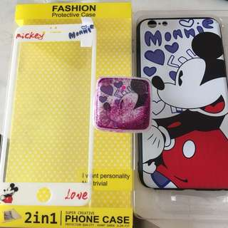 Mickey Mouse iPhone 6S Plus Case - with Pop socket and tempered glass