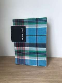 Checked cloth notebook