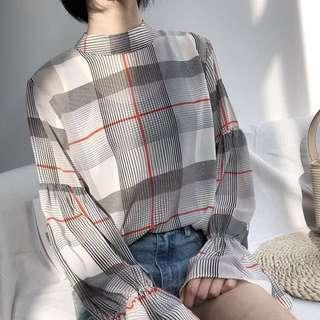 現貨 米白 復古格紋雪紡襯衫