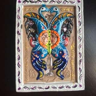 Butterfly Amulet Block A yant by Kruba Krissana. Free Butterfly amulet