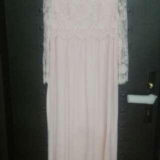 專櫃粉紅長裙洋裝(9成新)