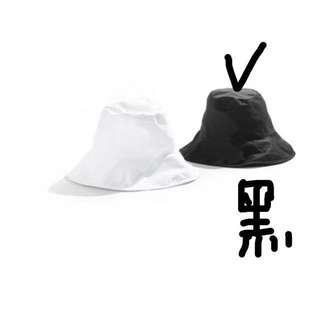 🚚 黑色素面大漁夫帽復古韓風潮流帽明星同款盆帽大沿帽遮太陽