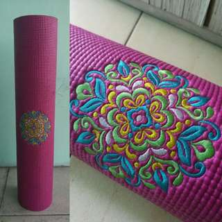 Embroidered yoga mat