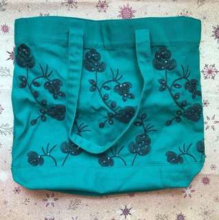 Green Cotton Tote Bag with Embroidery/Sequins