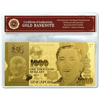 24k Gold $1000 banknote