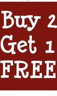 All items * Buy 2 Get 1 Free