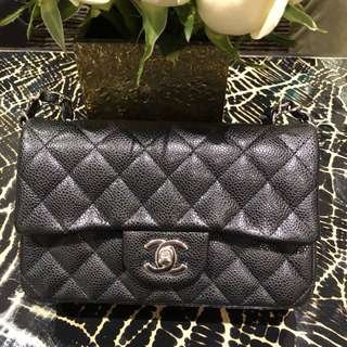 Chanel classic flap mini bag 20cm 魚子醬紋 牛皮 黑色 銀扣 Chanel handbag 現貨