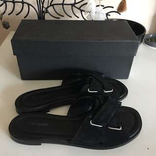 Tony Bianco leather suede slides - worn once