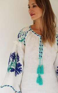 Cicada Premium White Linen Dress / Tunic with Turquoise Embroidery
