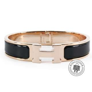(NEW)Hermes 700001 FO 01 CLIC CLAC H 0.5IN WIDE ENAMEL PM BRACELET RGHW, BLACK 全新 手鐲 手鈪 黑色 金扣