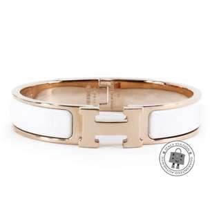 (NEW)Hermes 700001 FO 31 CLIC CLAC H 0.5IN WIDE ENAMEL PM BRACELET RGHW, BLANC 全新 手鐲 手鈪 白色