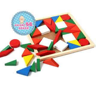 Wooden Toys Tangram Brain-Teaser Puzzle Preschool Magination Intellectual Educational Kids Toy For Kids Baby Children