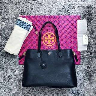 Tory Burch Robinson Side Zip Pebbled Leather Tote (Authentic w. Receipt)