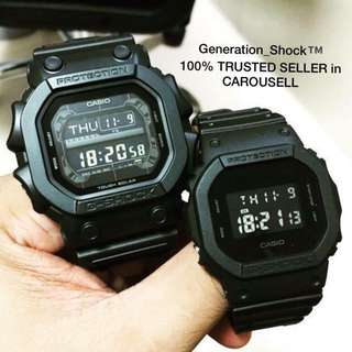 COUPLE💝SET GKING CASIO GSHOCK 200m DIVER WATCH : 1-YEAR OFFICIAL VALID WARRANTY: 100% Originally Authentic G-SHOCK Resistant In Deep BLACK in  STEALTH MATT STRAP-BAND with Illuminator Light Best For Most Rough Users & Unisex: GX-56BB-1DR vs DW-5600BB-1DR