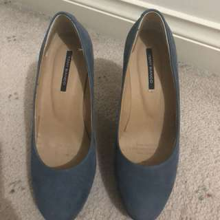 Tony Bianco blue wedges size 6.5