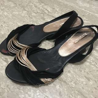 [2 for $12] Topshop Black Rose Gold Sandals Strappy Slippers Low Heels Flats Suede Wedges Shoe size 38