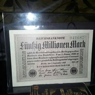 Duit Lama Germany 5000 Milion Reich Mark 1923