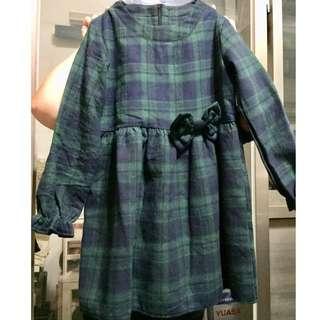 綠格紋洋裝