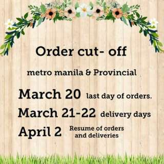 notice for orders and delivery