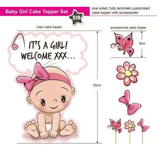 Baby Girl Baby Shower Cake Topper and Accessories