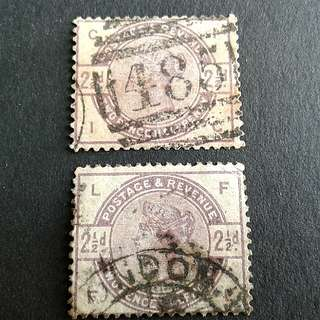 1884 Great British 2.1/2d stamps